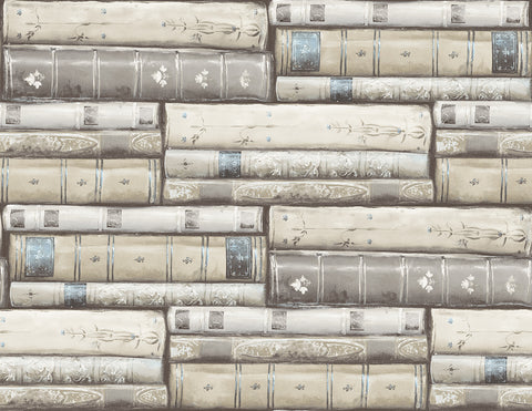 Library Wallpaper in Washed Grey from the Vintage Home 2 Collection by Wallquest