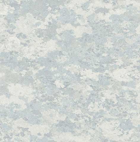 Lichen Wallpaper in Silver, Blue, and Grey from the Transition Collection by Mayflower