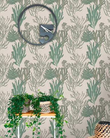 Light Corals Wallpaper in Green and Taupe from the Atoll Collection by Mind the Gap