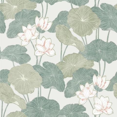 Lily Pad Peel & Stick Wallpaper in Beige and Green by RoomMates for York Wallcoverings