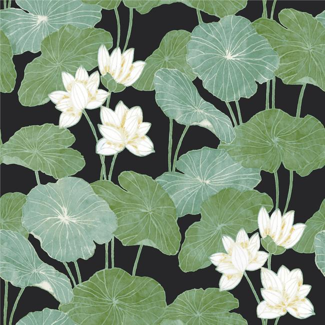 Sample Lily Pad Peel & Stick Wallpaper in Black and Green by RoomMates for York Wallcoverings