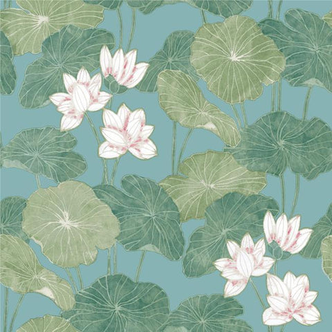 Lily Pad Peel & Stick Wallpaper in Blue and Green by RoomMates for York Wallcoverings