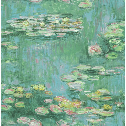 Lily Pads Wallpaper in Green, Blue, and Pink from the French Impressionist Collection by Seabrook Wallcoverings