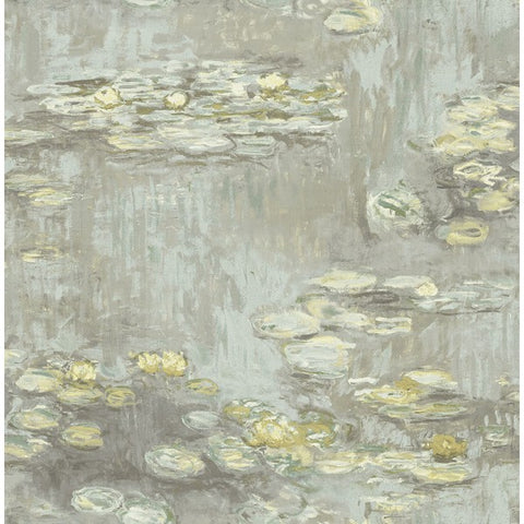 Lily Pads Wallpaper in Green, Gold, and Neutrals from the French Impressionist Collection by Seabrook Wallcoverings