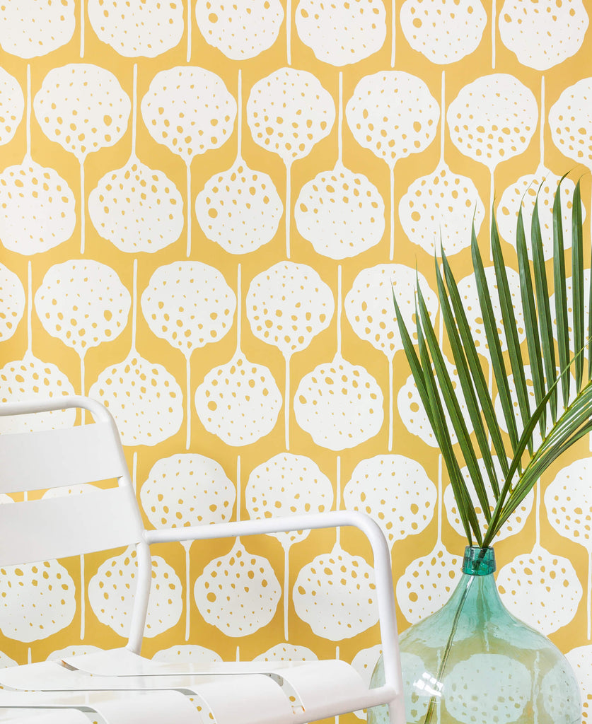 Lily's Pad Wallpaper in Colonel Mustard by Anna Redmond for Abnormals Anonymous