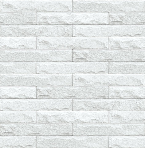 Limestone Brick Peel-and-Stick Wallpaper in Eggshell and Grey by NextWall