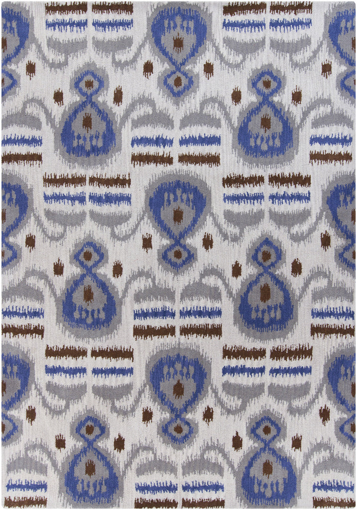 Lina Collection Hand-Tufted Wool Area Rug in Ivory and Blue design by Chandra