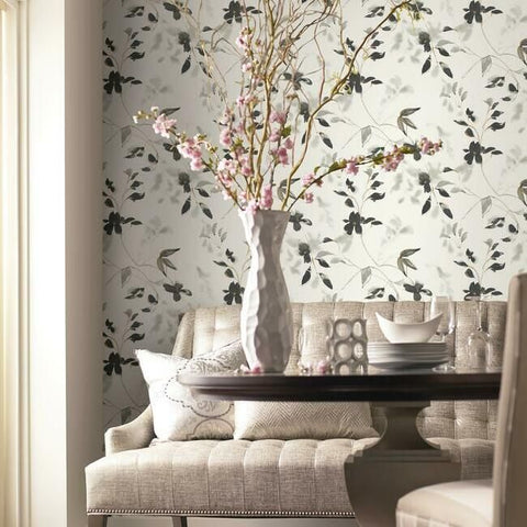 Linden Flower Peel & Stick Wallpaper in Black by York Wallcoverings