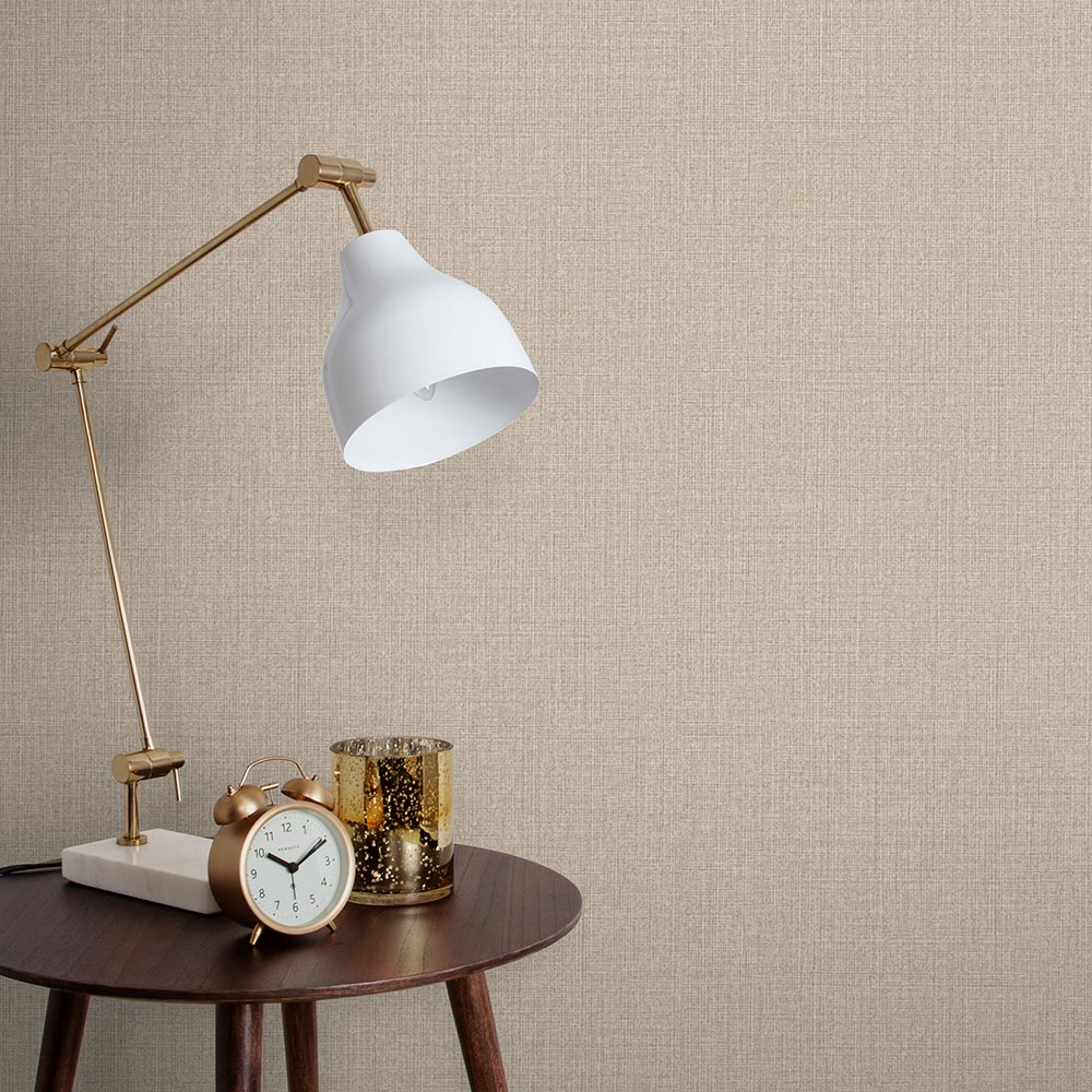 Linen Wallpaper in Beige from the Exclusives Collection by Graham & Brown