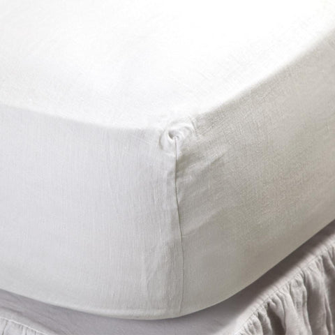 Linen Fitted Sheet in Cream design by Pom Pom at Home