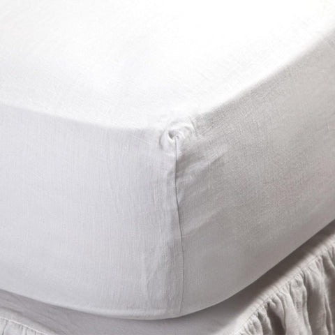 Linen Fitted Sheet in White design by Pom Pom at Home
