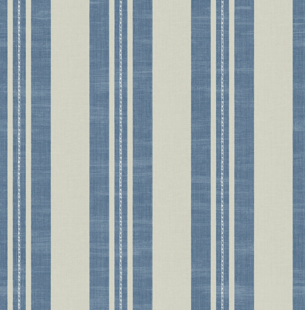 Linen Stripe Wallpaper in Denim and Soft Grey from the Day Dreamers Collection by Seabrook Wallcoverings