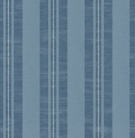 Linen Stripe Wallpaper in Sky Blue and Denim from the Day Dreamers Collection by Seabrook Wallcoverings