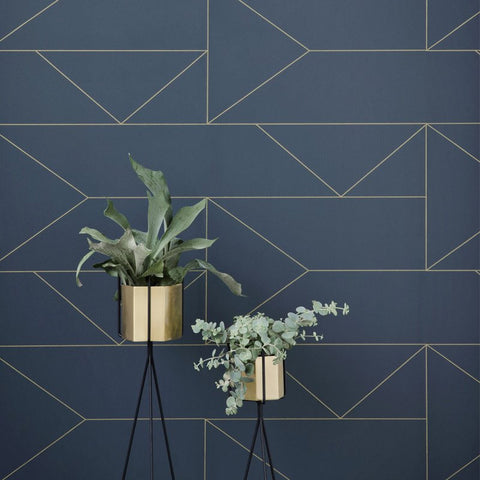 Lines Wallpaper in Dark Blue by Ferm Living