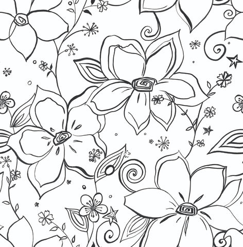 Linework Floral Peel-and-Stick Wallpaper in Black and White by NextWall
