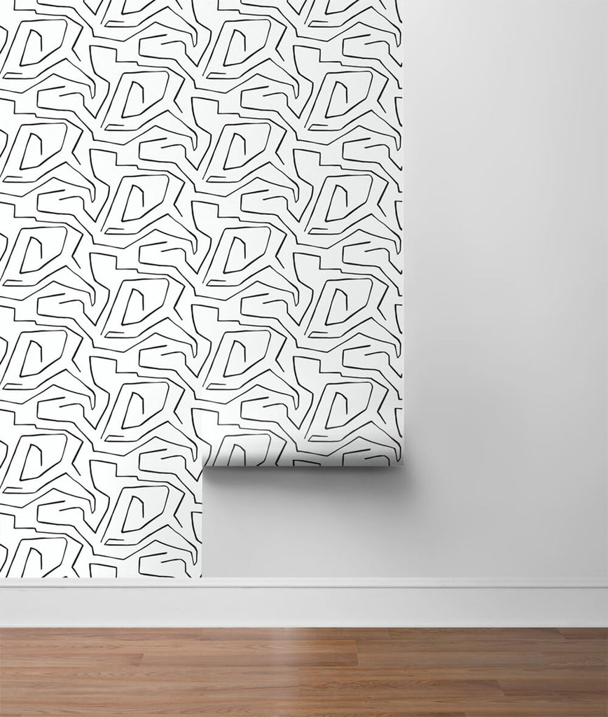 Linework Maze Peel-and-Stick Wallpaper in Black and White by NextWall