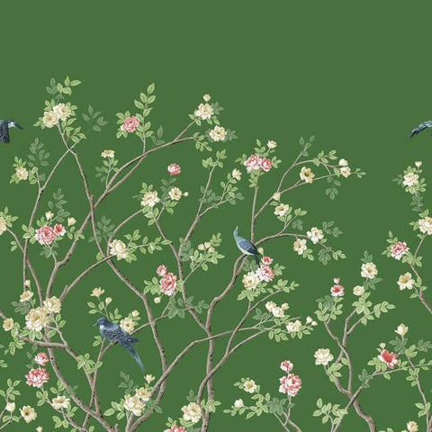 Lingering Garden Wall Mural in Green from the Murals Resource Library by York Wallcoverings