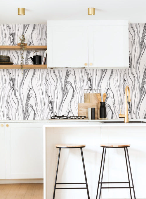 Liquid Marble Wallpaper in Black and White from the Impressionist Collection by York Wallcoverings