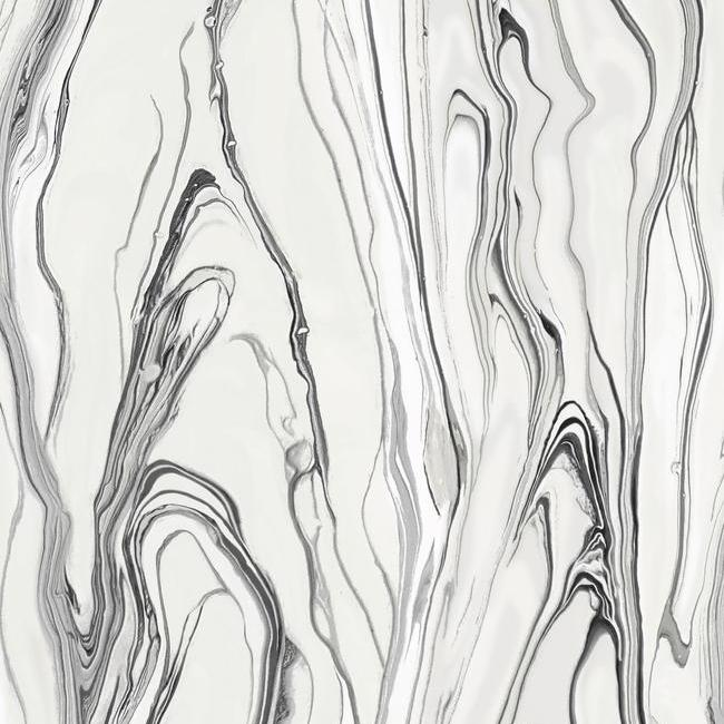 Sample Liquid Marble Wallpaper in Black and White from the Impressionist Collection by York Wallcoverings