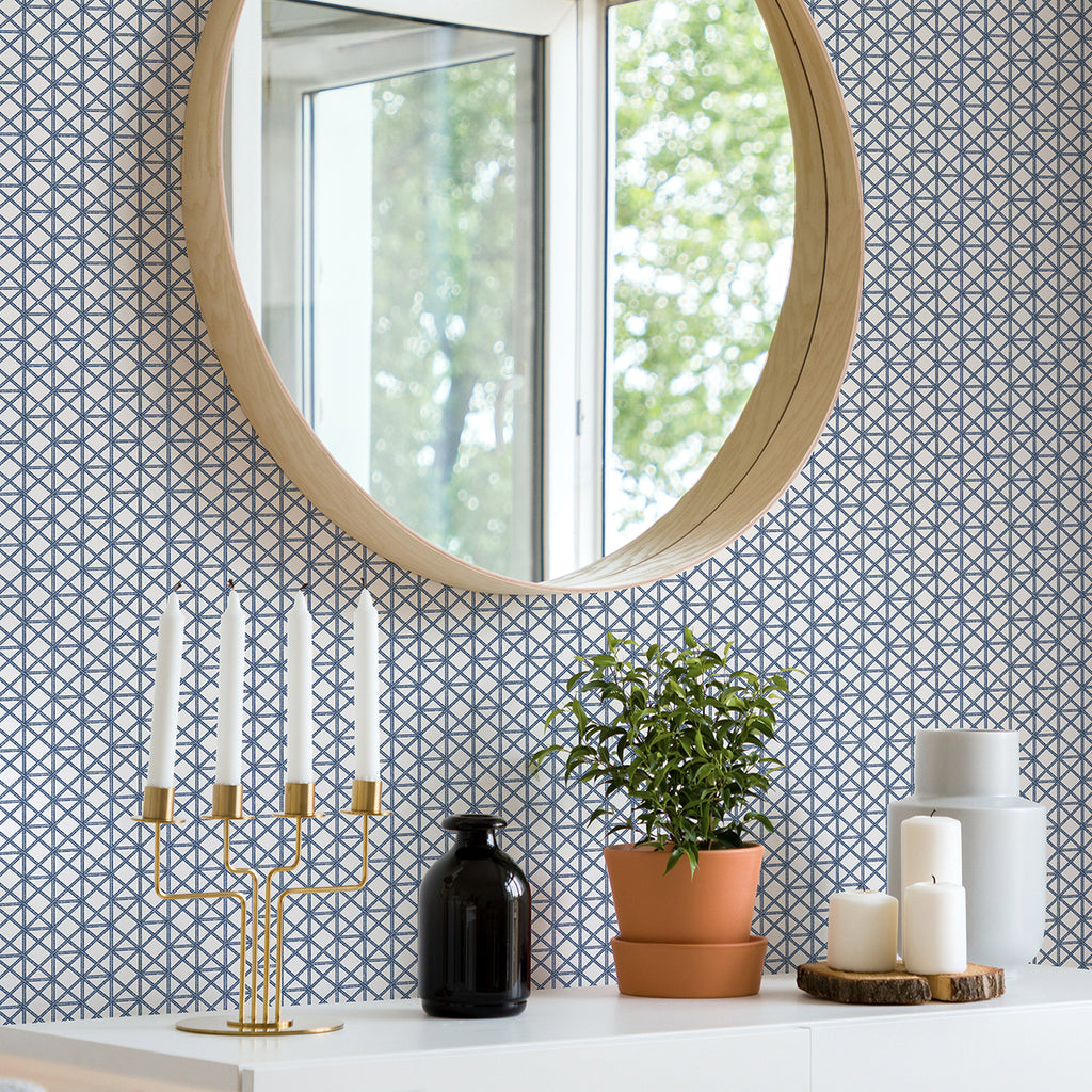 Lisbeth Geometric Lattice Wallpaper in Blue from the Pacifica Collection by Brewster Home Fashions
