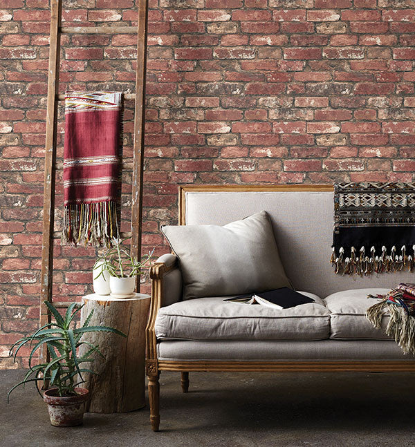 Loft Red Brick Wallpaper from the Essentials Collection by Brewster Home Fashions