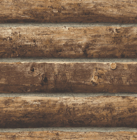 Log Cabin Peel-and-Stick Wallpaper in Walnut by NextWall