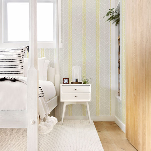 Lottie Stripe Wallpaper in Yellow from the Bluebell Collection by Brewster Home Fashions