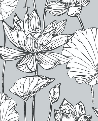 Lotus Floral Peel-and-Stick Wallpaper in Grey and Ebony by NextWall