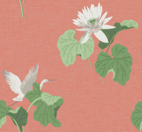 Lotus Wallpaper in Coral from the Sanctuary Collection by Mayflower Wallpaper