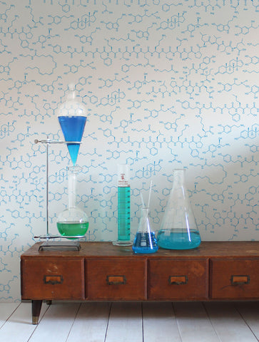 Love Molecules Wallpaper in Azzurro design by Aimee Wilder