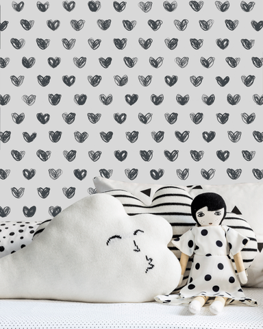Love Wallpaper in Charcoal by Marley + Malek Kids