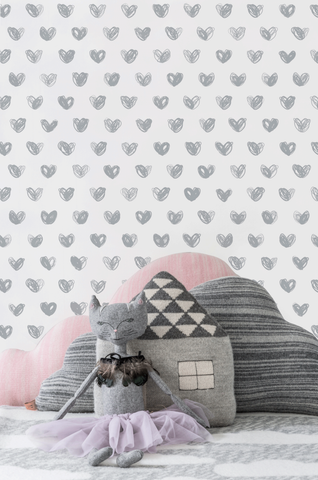 Love Wallpaper in Silver by Marley + Malek Kids