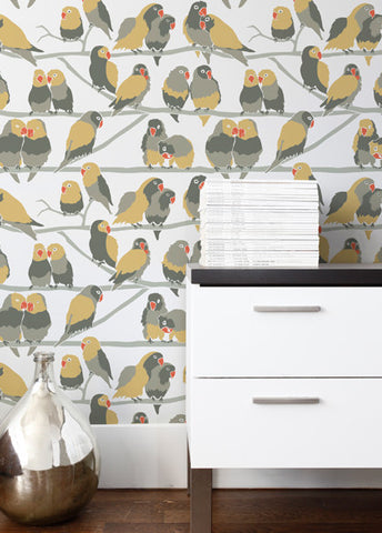 Lovebirds Wallpaper in Paradise design by Aimee Wilder