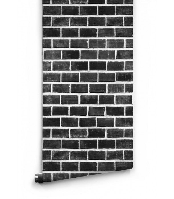 Sample Lubeck Black and White Bricks Boutique Faux Wallpaper design by Milton & King
