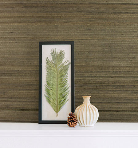 Lucie Charcoal Grasscloth Wallpaper from the Jade Collection by Brewster Home Fashions