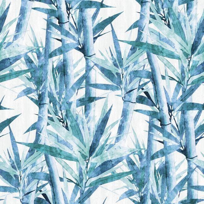 Sample Lucky Bamboo Peel & Stick Wallpaper in Blue by RoomMates for York Wallcoverings