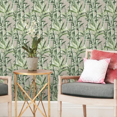 Lucky Bamboo Peel & Stick Wallpaper in Taupe by RoomMates for York Wallcoverings