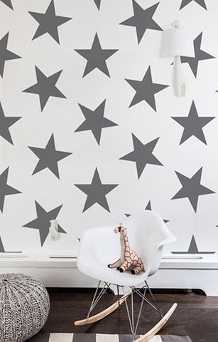 Lucky Star Wallpaper in Charcoal by Marley + Malek Kids