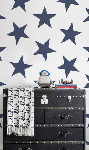 Lucky Star Wallpaper in Navy by Marley + Malek Kids