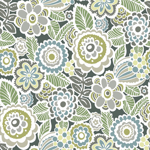 Lucy Floral Wallpaper in Green from the Bluebell Collection by Brewster Home Fashions