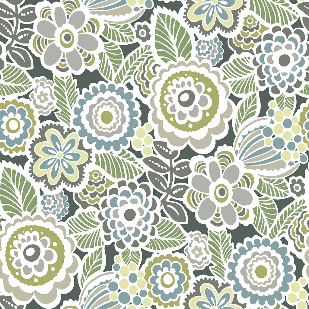 Sample Lucy Floral Wallpaper in Green from the Bluebell Collection by Brewster Home Fashions