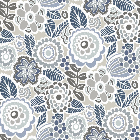 Lucy Floral Wallpaper in Grey from the Bluebell Collection by Brewster Home Fashions