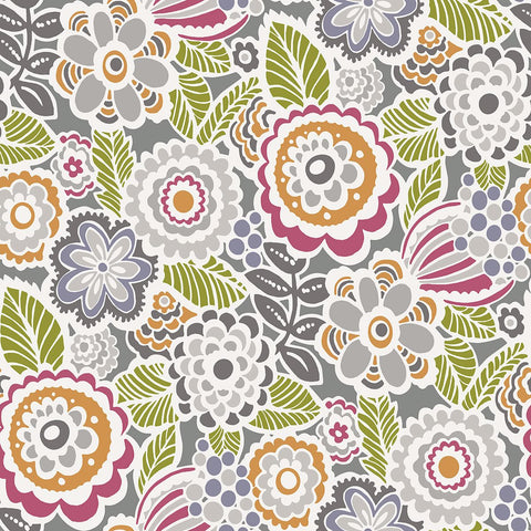 Lucy Floral Wallpaper in Multicolor from the Bluebell Collection by Brewster Home Fashions