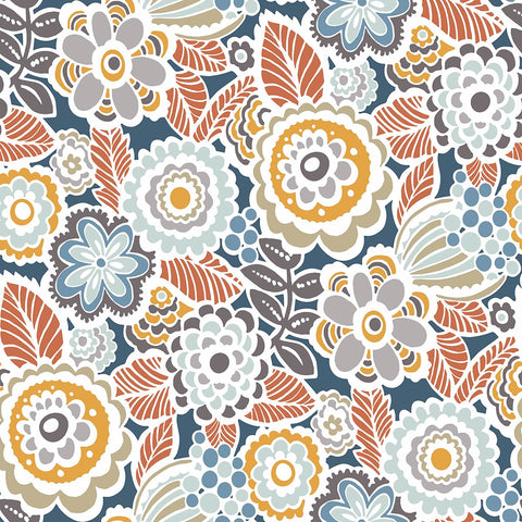 Lucy Floral Wallpaper in Navy from the Bluebell Collection by Brewster Home Fashions