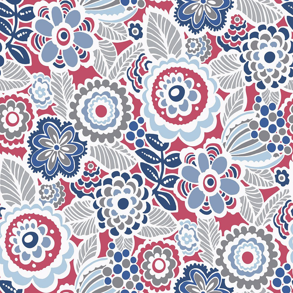 Sample Lucy Floral Wallpaper in Red from the Bluebell Collection by Brewster Home Fashions