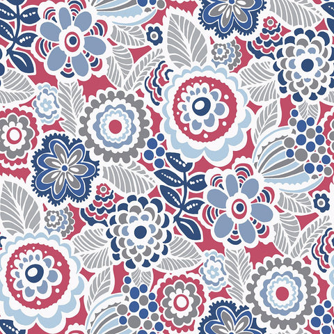 Lucy Floral Wallpaper in Red from the Bluebell Collection by Brewster Home Fashions