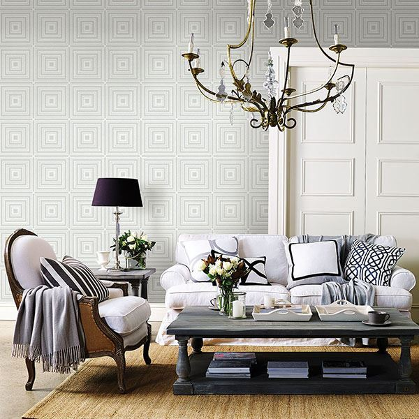 Luminous Geometric Wallpaper in Silver from the Moonlight Collection by Brewster Home Fashions
