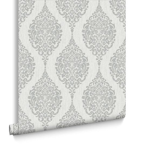 Luna Wallpaper in Grey from the Midas Collection by Graham & Brown