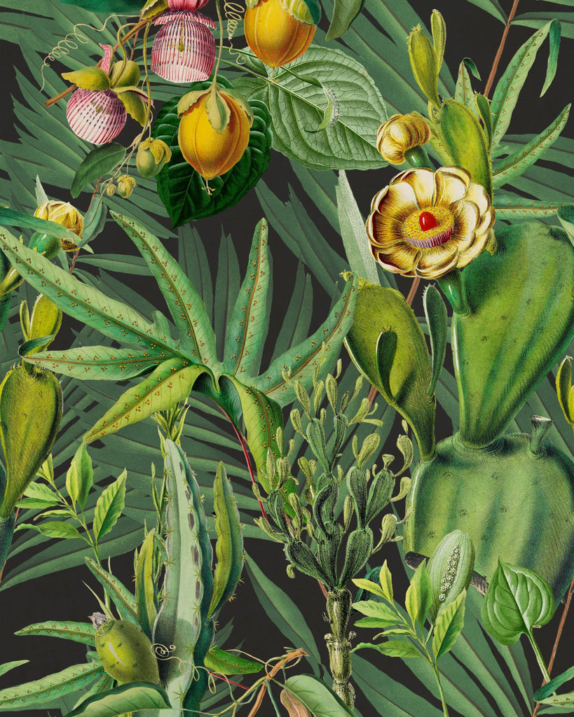 Sample Luscious Flora Wallpaper in Green from the Wallpaper Compendium Collection by Mind the Gap