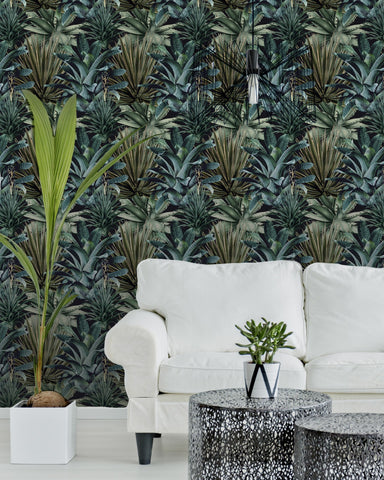 Lush Succulents Wallpaper in Green and Black from the Rediscovered Paradise Collection by Mind the Gap